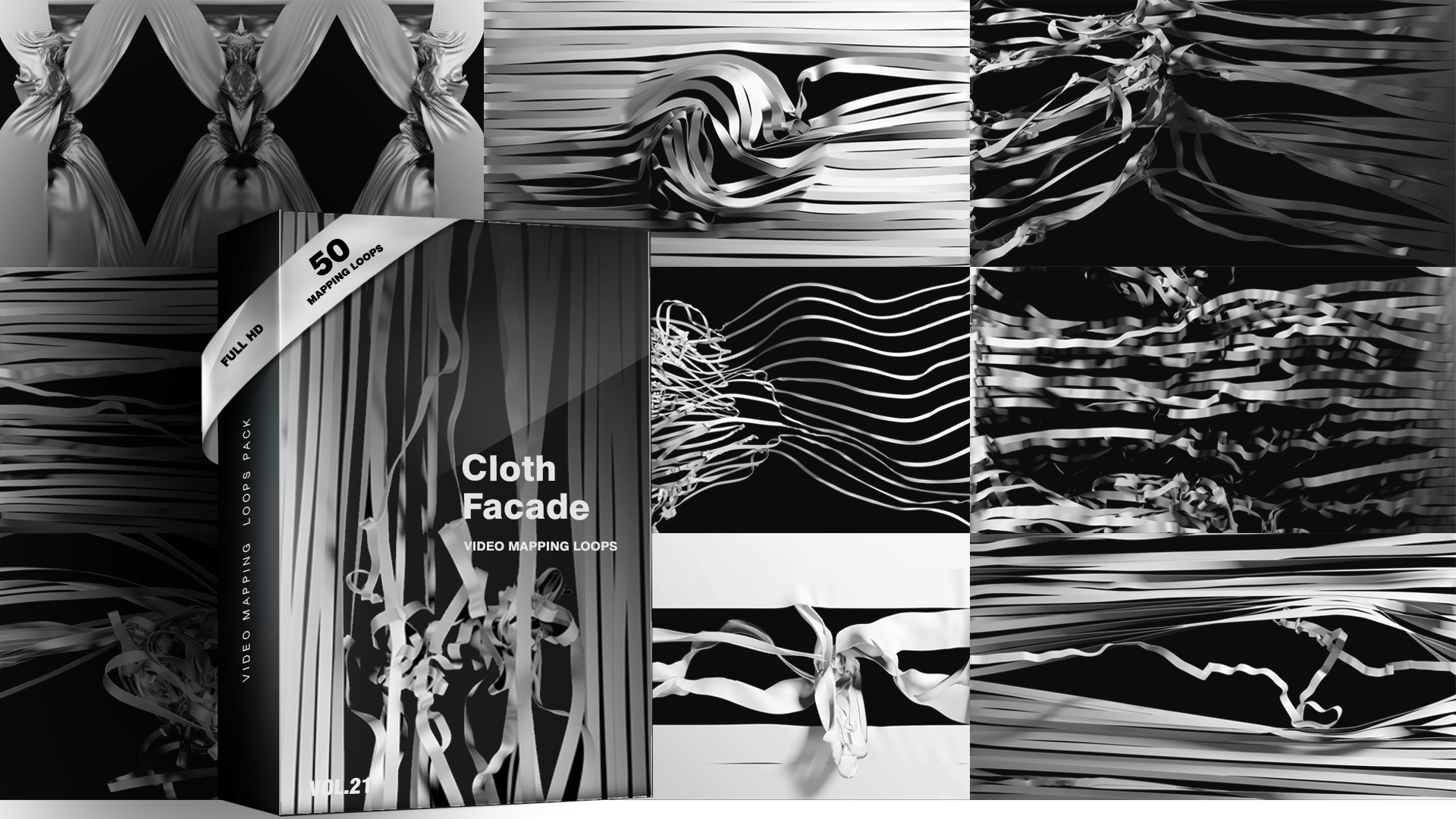Cloth Facade – Video Mapping Loops Pack Vol 21