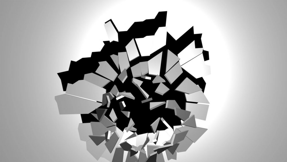 video projection mapping destroy fall glass broken